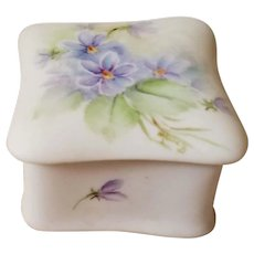 Violets Bisque Porcelain Dresser Box Ring Jewelry Tooth Fairy Holder Mid Century