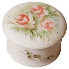 Roses Bisque Porcelain Dresser Box Ring Jewelry Tooth Fairy Holder Mid Century