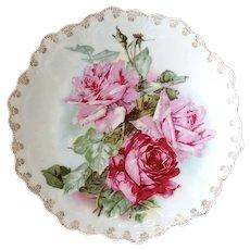 C Klein Roses Porcelain Plate Zeh Scherzer Bavaria c1890 Charger
