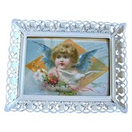 Antique Cupid Easter Print Woolson Spice Angel Fairy Dove Roses Rosebud Frame