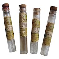 Majestic Perfume Four Bottle s Rose Lily of the Valley Tax Stamp Antique Victorian