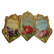 Three Antique Perfume Label Print s c1890s Antique Victorian Chromolithographs