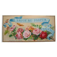 c1890 French Perfume Paper Label Roses Butterfly Paris Mint Print Advertising Soap