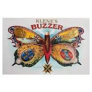 c1890s Buzzer Cigar Label Print Klenes Antique Chromolithograph Butterfly Man Cave Art