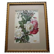 c1905 Roses Print Paul de Longpre Cabbage Rose Floral Flower Womans Home Companion Magazine