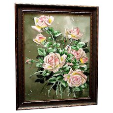 c1913, Roses, Painting, Signed, Listed, Marjorie Ransom Cummins, Edwardian, Antique, Original Frame