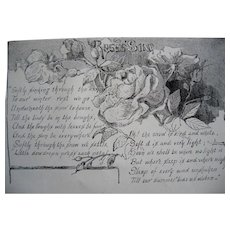 c1889 The Roses Song Poem Print Engraving Antique Victorian
