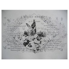 c1889 Butterfly Print Poem A Bit of Mending Engraving Antique Victorian
