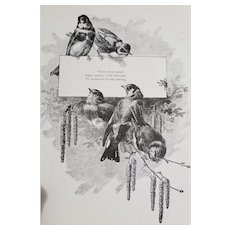 c1889 Bird Print Poem Engraving Antique Victorian