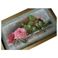 Antique Roses Print Paul de Longpre c1895 Victorian Chromolithograph Half Yard Long Autographed Vintage