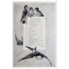 c1889 Swallows Bird Print Poem Engraving Hector Giacomelli Antique Victorian Vintage