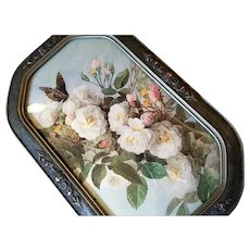 Paul de Longpre Bride Roses and Butterfly Print Antique Vintage Frame