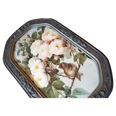 Paul de Longpre Bride Roses and Bird Print Antique Vintage Frame