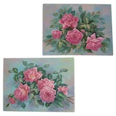 Two Vintage Rose Oil on Canvas Painting s Listed Artist Mary Ann Ohmit Roses