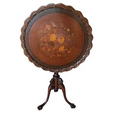 Antique Inlaid Tilt Top Table Griffins Claw Feet Roses Pie Crust Edge