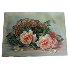 French Roses Oil Painting C Klein Antique Vintage Victorian