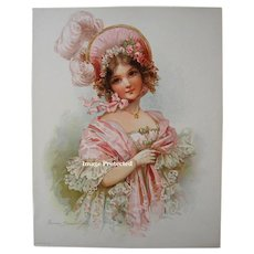 Vintage Frances Brundage Print c1900 Girl Lady LADY Pink Dress Feather Hat Chromolithograph