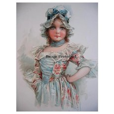 Vintage Frances Brundage Print Girl c1900 Chromolithograph Fine Condition Antique
