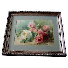 Vintage Rose Print c1903 Antique Roses Print E Aulich Chromolithograph
