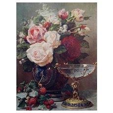 Vintage Cabbage Roses Print Frame Jean Baptiste Robie Raspberries Rose