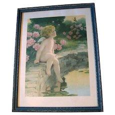 Cupid Butterfly Vintage Print Original Frame Besse Pease Gutmann