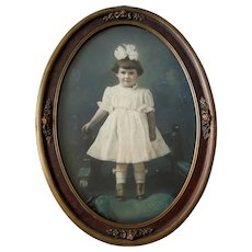 XL Girl High Button Shoes Vintage Photograph Barbola Frame AntiqueDoll
