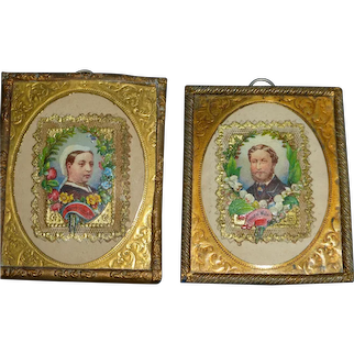 Framed Victoria and Albert Dollhouse Portraits