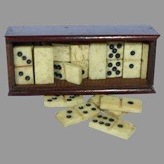 Hardwood Box With Doll Size Domino Set