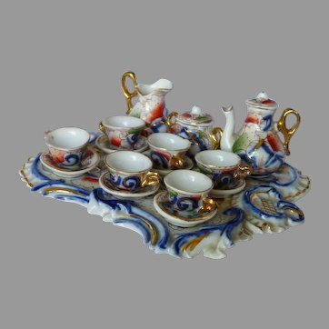 "Tea For 6 In ""Gaudy Painted"" Pattern Doll Tea Set"