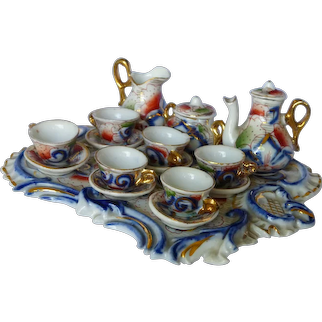 """Tea For 6 In """"Gaudy Painted"""" Pattern Doll Tea Set"""