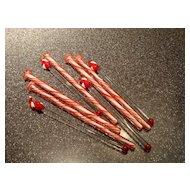 Blown Glass Handcrafted Santa Claus Peppermint Swirl Swizzle Sticks
