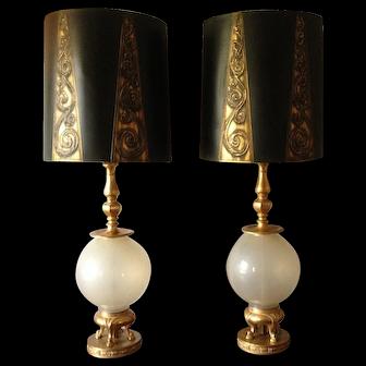 Marbro Table Lamps Pair Opaline Art Glass  24K w/ Original Shades