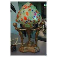 Wonderful Old 3 Nudes Lamp Original Shade