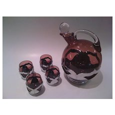 Set of Amethyst and Chrome Barware by Cambridge