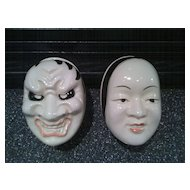 Pair of Japanese Porcelain Masks