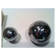 Chrome Sphere salt and pepper shakers 1930's Chase Brass and Copper Co