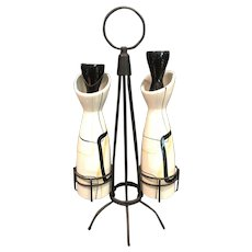 """REDWING """"Smart Set"""" Oil and Vinegar Cruet with metal stand"""