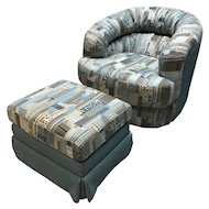 """Vintage Chair & Ottoman """"Cityscapes"""""""