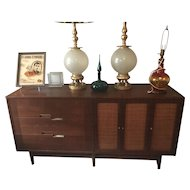 Paul McCobb Walnut Credenza with Caned Doors