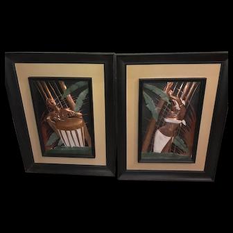 C.E Pearson Copper Polynesian Mid-Century Pair of Pictures