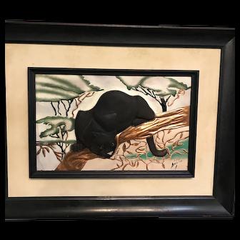 C.E Pearson Copper Black Panter Mid-Century Picture
