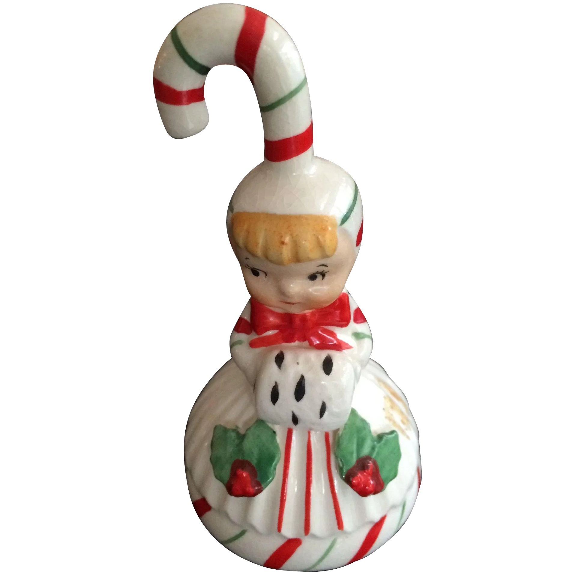 Lefton Christmas Candy Cane Girl Ornament And Bell Click To Expand