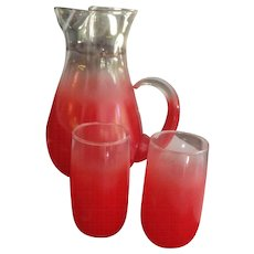 Lemonade Set for Two!  BLENDO Gradient Red Glass Pitcher by West Virginia Glass Made in USA