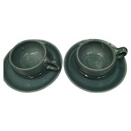 Pair of 1930's Russel Wright Seafoam American Modern Demitasse Cup and Saucer