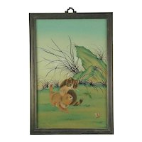 Vintage Chinese Reverse Painting on glass