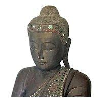 Vintage Thai Wooden Seated Buddha