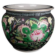 Vintage Japanese Fish Bowl with Flowers