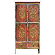 Antique Hand-Painted Tibetan Cabinet