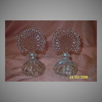 Pair of Fan Topped Perfume Bottles - b57