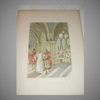 Lithograph The Monastery of Poblet by W. L. Dodge